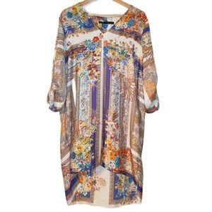 Zara Floral High Low Boho Tab Long Sleeve Dress